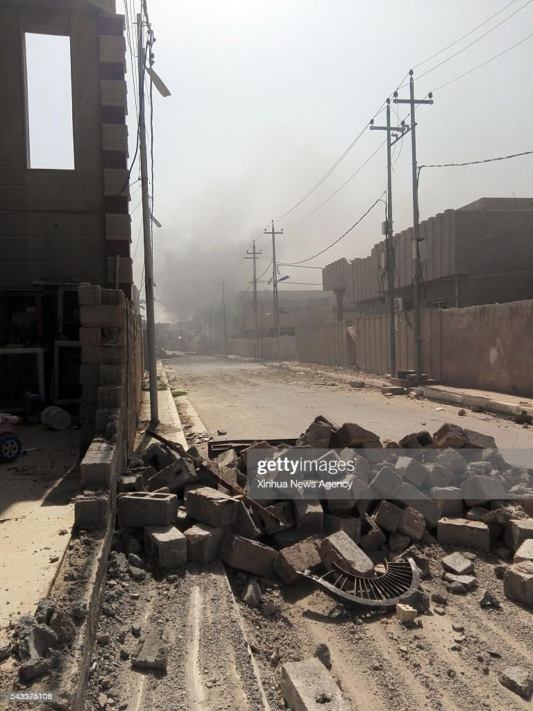 FALLUJAH, June 27, 2016-- Rubbles are seen in Fallujah city of western Iraq's Anbar province, on June 26, 2016. A senior Iraqi commander on Sunday declared full liberation of the city of Fallujah from Islamic State militants after about a month of battles against the extremist militants.