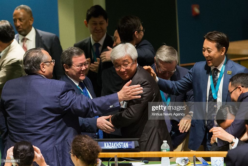 NATIONS, June 28, 2016 -- Kazakhstan's foreign minister Erlan Idrissov, center, is congratulated after Kazakhstan is elected as non-permanent member of UN Security Council at the UN headquarters in New York, June 28, 2016. The UN General Assembly on Tuesday elected Kazakhstan as a non-permanent member of UN Security Council in a second round of vote, following the election of Ethiopia, Bolivia, and Sweden.