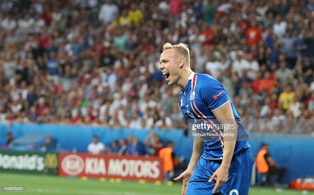 NICE, June 28, 2016 -- Kolbeinn Sigthorsson of Iceland celebrates scoring during the Euro 2016 round of 16 football match between England and Iceland in Nice, France, June 27, 2016.