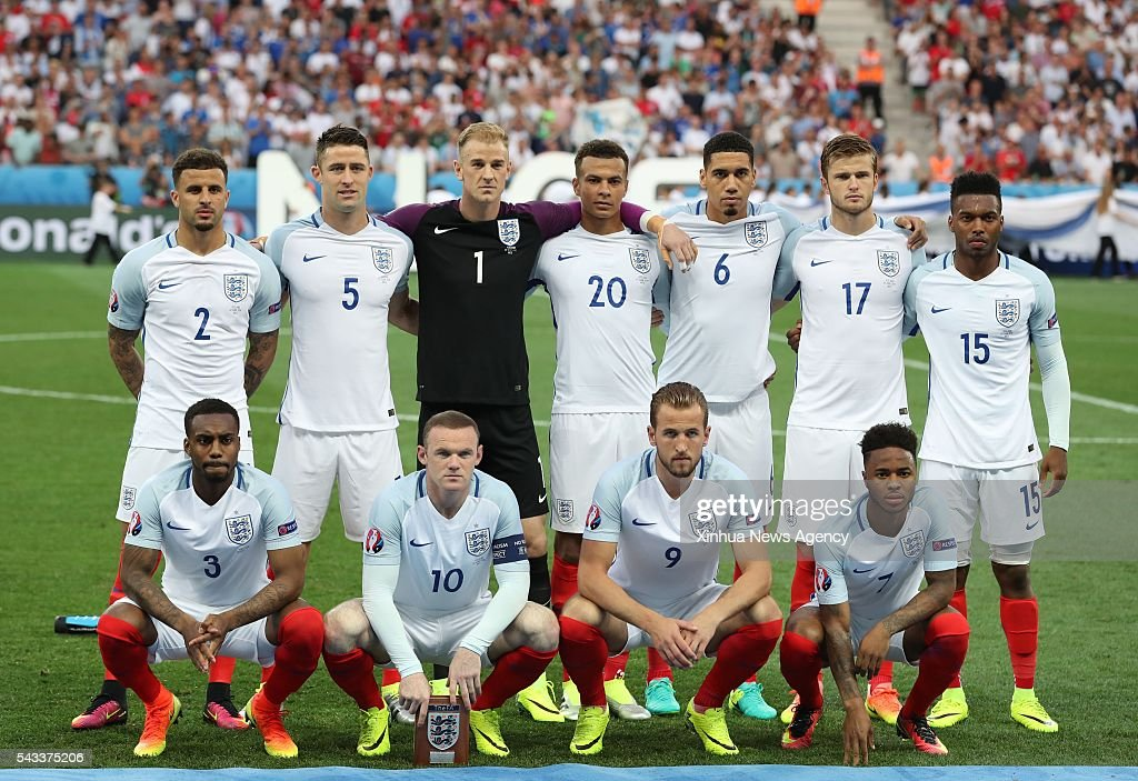 NICE, June 28, 2016 -- Players of England line up before the Euro 2016 round of 16 football match between England and Iceland in Nice, France, June 27, 2016.