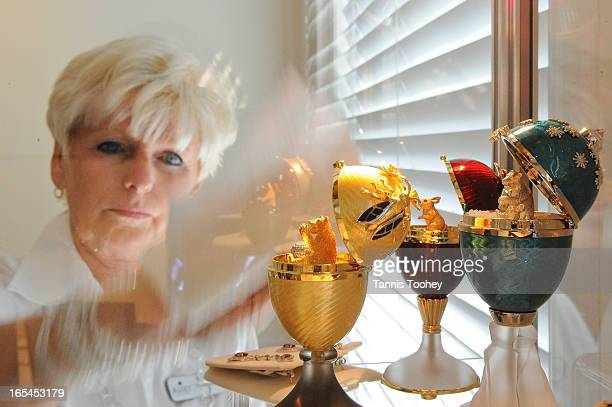 June 29 2010Diane Murie cleans up the jewellery cabinet holding the three Faberge eggs worth around $15000 to $18000 each The eggs are a mere sample...