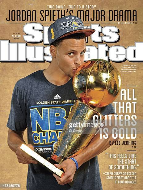 Basketball NBA Finals Closeup of Golden State Warriors Stephen Curry victorious kissing Larry O'Brien Trophy after winning Game 6 and championship...
