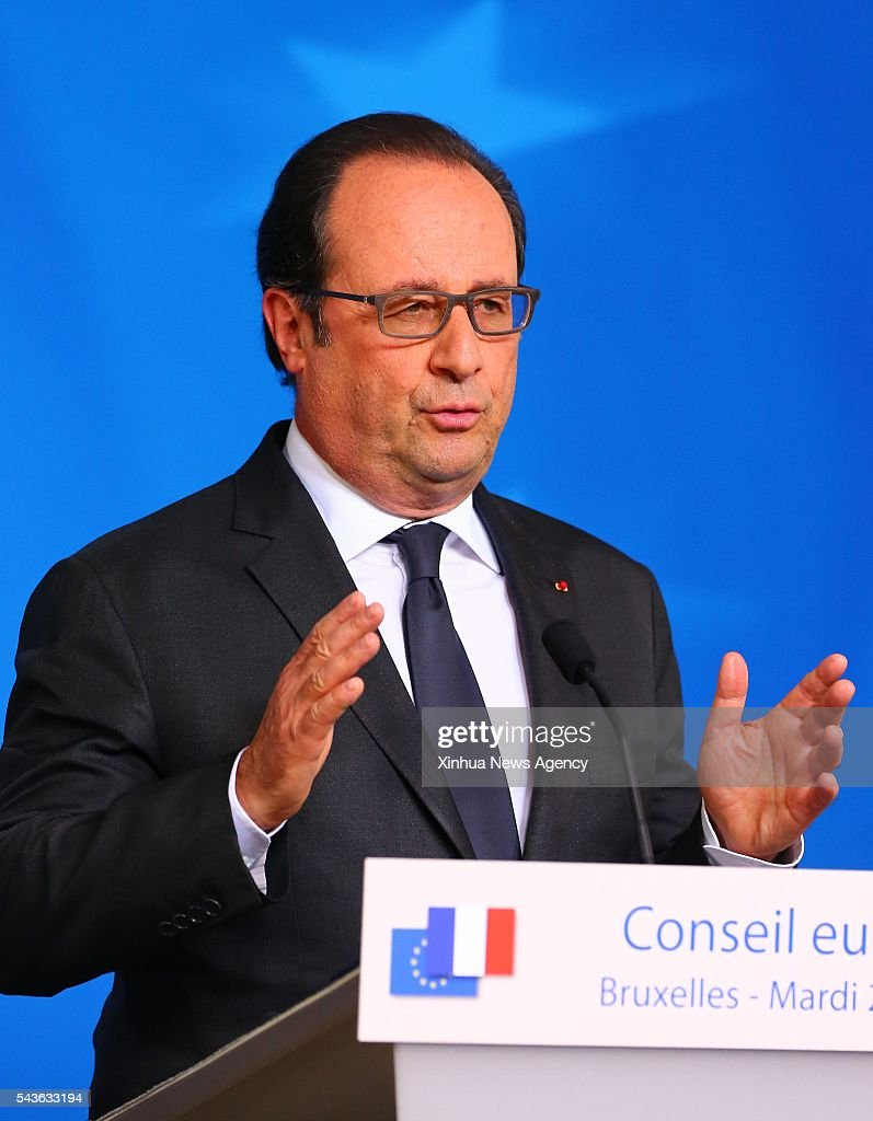 BRUSSELS, June 29, 2016-- French President Francois Hollande attends a press conference at the EU headquarters in Brussels, Belgium, June 28, 2016. European leaders on Tuesday pressed for a quick and clear British departure plan to quell worldwide anxiety about the continent's future.