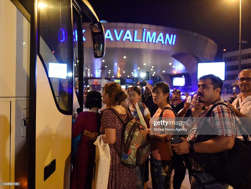ISTANBUL, June 29, 2016 -- Stranded passengers are transferred to nearby hotels from Ataturk International Airport in Istanbul, Turkey, June 29, 2016. Turkish Prime Minister Binali Yildirim on Wednesday blamed the Islamic State for the bombing attacks that killed 36 people at the airport Tuesday night.