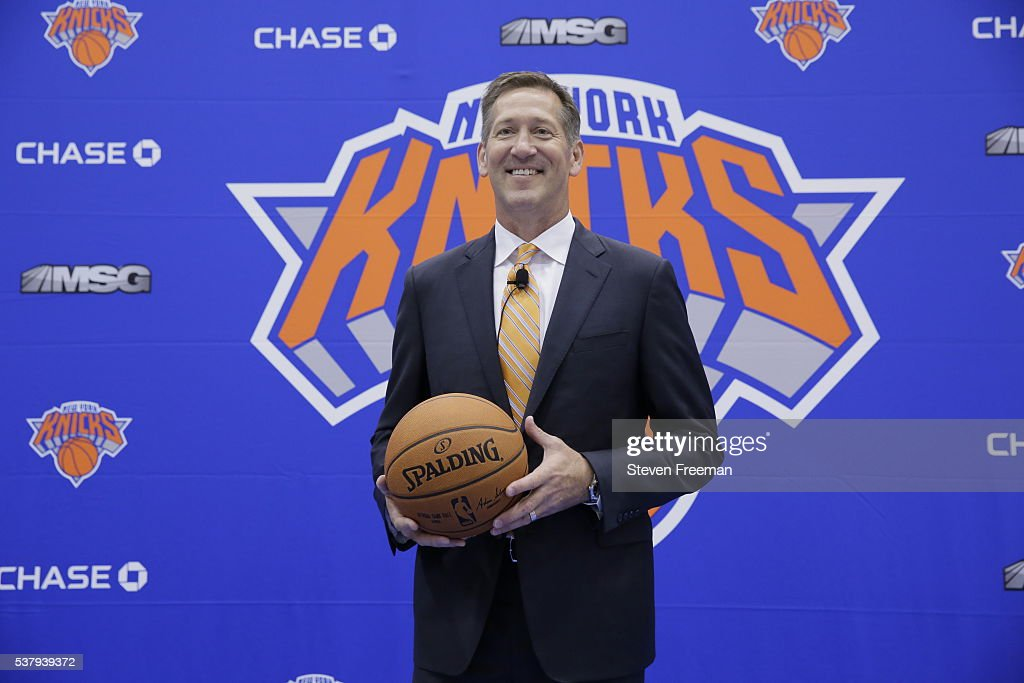 The New York Knicks introduce Jeff Hornacek as their new head coach during a press conference at the Knicks Practice Center on June 3 2016 in...
