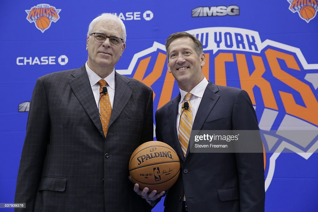 The New York Knicks Phil Jackson introduces Jeff Hornacek as their new head coach during a press conference at the Knicks Practice Center on June 3...