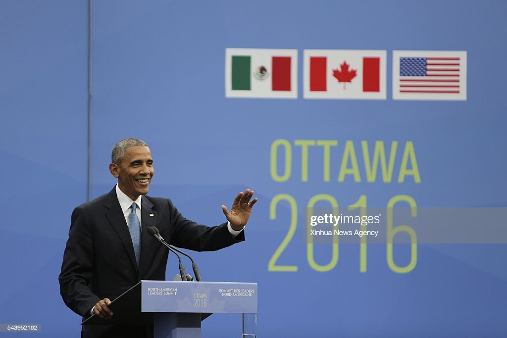 OTTAWA, June 30, 2016 -- U.S. President Barack Obama speaks at a joint press conference during the North American Leaders Summit in Ottawa, Canada, on June 29, 2016. The leaders of Canada, the United States and Mexico pledged to further their cooperation in fighting against rising protectionism at the close of the North American Leaders Summit held here Wednesday. The three leaders also agreed to pledged to produce 50 percent of their countries' electricity from clean energy by 2025.