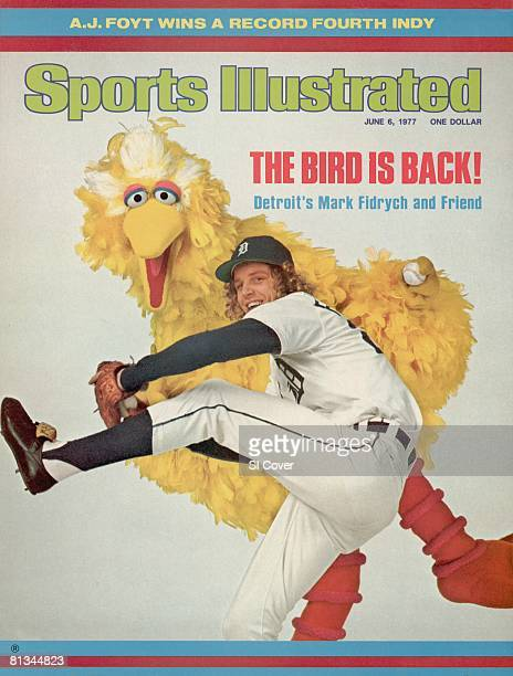 June 6 1977 Sports Illustrated Cover Baseball Unusual portrait of Detroit Tigers Mark The Bird Fidrych with Big Bird of TV's Sesame Street 1/31/1977