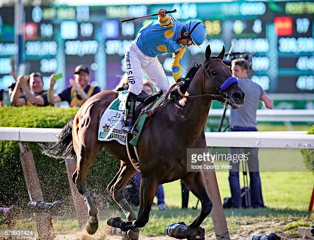 American Pharoah is pictured just after crossing the finish line to win the 147th running of the Belmont Stakes and with it Thoroughbred Racing's...