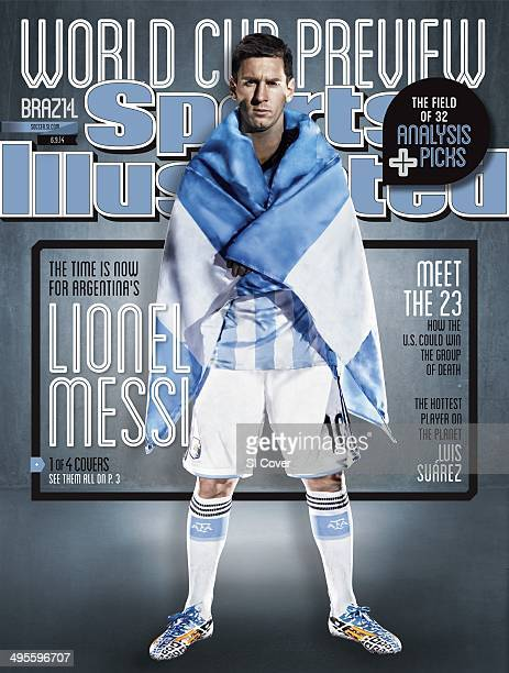 Soccer FIFA World Cup Preview Portrait of Argentina Men's National Team forward Lionel Messi with Argentine flag during photo shoot Spain 1/23/2014...
