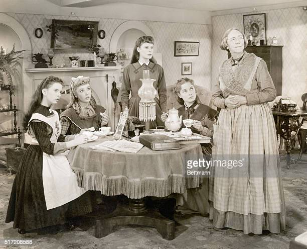 June Allyson Elizabeth Taylor Margaret O'Brien and Janet Leigh pause for tea while Elizabeth Patterson recounts a story of better days in this...