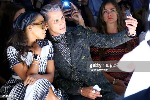 June Ambrose and Jay Manuel attend the Tadashi Shoji fashion show during MercedesBenz Fashion Week Spring 2015 at The Salon at Lincoln Center on...