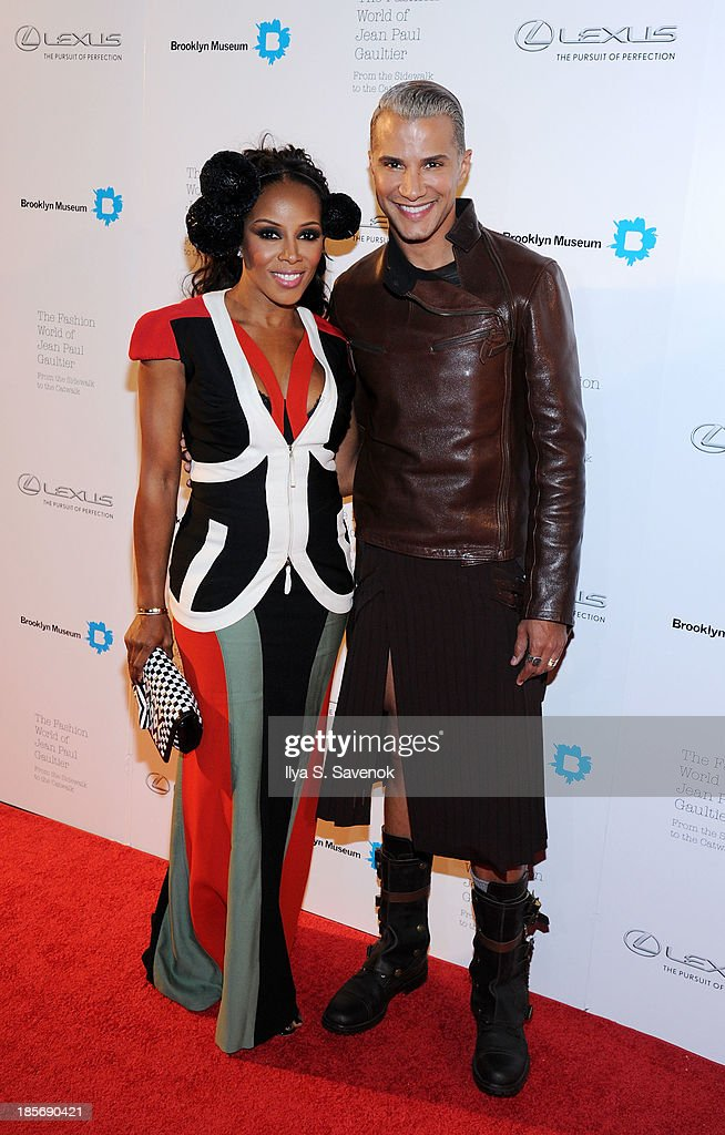 June Ambrose (L) and Jay Manuel attend the VIP reception and viewing for The Fashion World of Jean Paul Gaultier: From the Sidewalk to the Catwalk at the Brooklyn Museum on October 23, 2013 in the Brooklyn borough of New York City.