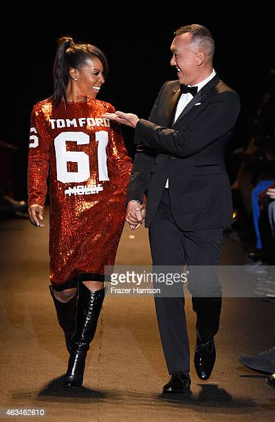 June Ambrose and Joe Zee walk the runway at Naomi Campbell's Fashion For Relief Charity Fashion Show during MercedesBenz Fashion Week Fall 2015 at...