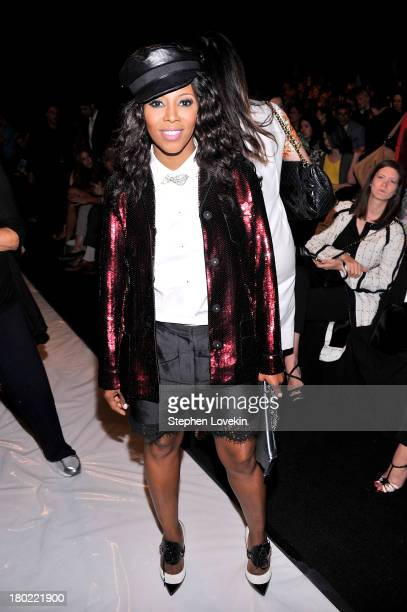 June Ambrose attends the Badgley Mischka fashion show during MercedesBenz Fashion Week Spring at The Theatre at Lincoln Center on September 10 2013...