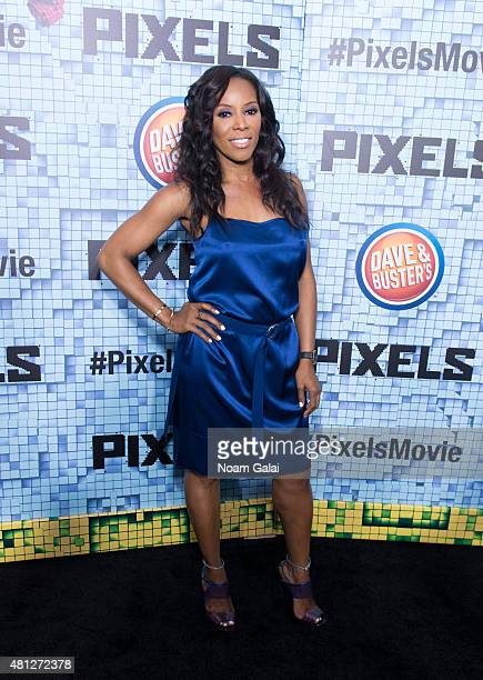 June Ambrose attends the 'Pixels' New York premiere at Regal EWalk on July 18 2015 in New York City