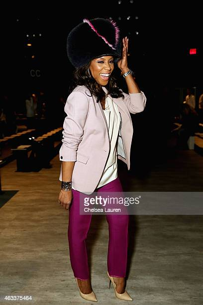 June Ambrose attends the Rebecca Minkoff fashion show during MercedesBenz Fashion Week Fall 2015 at The Pavilion at Lincoln Center on February 13...