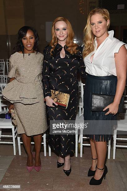 June Ambrose Christina Hendricks and Amy Schumer attend the Zac Posen Spring 2016 fashion show during New York Fashion Week at Vanderbilt Hall at...