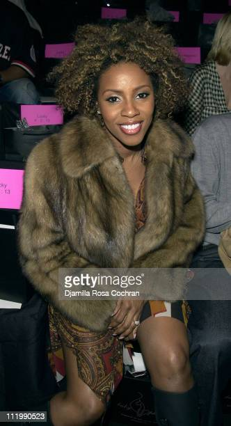 June Ambrose during MercedesBenz Fashion Week Fall 2003 Collections Baby Phat Front Row and Backstage at Bryant Park in New York City New York United...