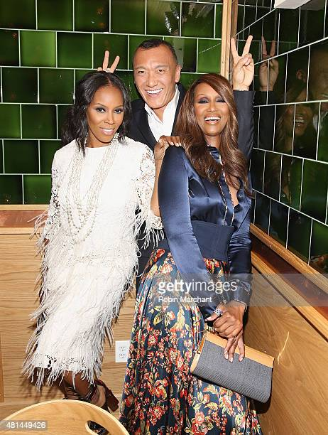 June Ambrose Joe Zee and Iman Abdulmajid attends a Dinner Honoring The Women Of 'Pixels' at Upland on July 20 2015 in New York City