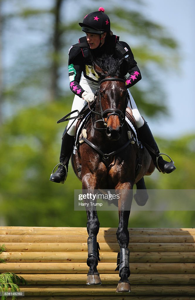 June D ridden by Nicola O'Connor make their way around the course during the Mitsubishi Motors Cup Cross Country Race during Day One of the Badminton Horse Trials on May 4, 2016 in Badminton, United Kindom.