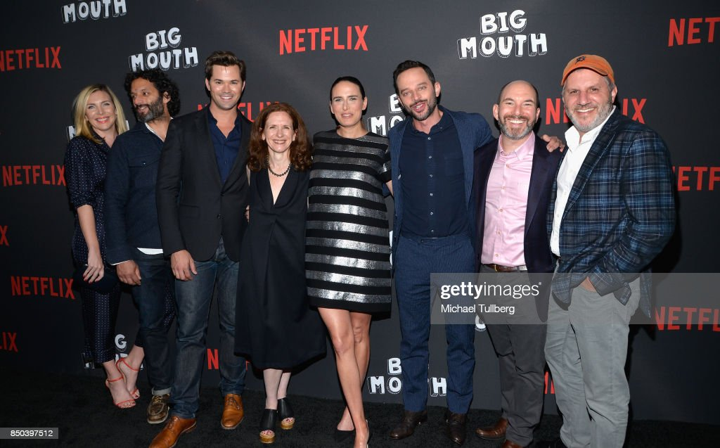 June Diane Raphael, Jason Mantzoukas, Andrew Rannells, Jen Flackett, Jessi Klein, Nick Kroll, Andrew Goldberg and Mark Levin arrive at the premiere of 'Big Mouth' at Break Room 86 on September 20, 2017 in Los Angeles, California.