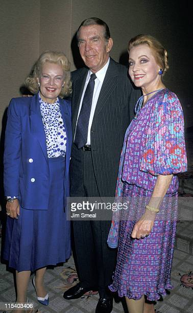 June Haver Fred MacMurray and Anne Jeffreys during Crystal Awards June 5 1987 at Century Plaza Hotel in Los Angeles California United States