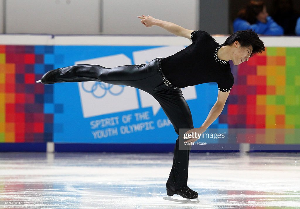June Hyoung Lee of South Korea competes during the men's figure skating short program at Olympic Ice Stadium on January 14, 2012 in Innsbruck, Austria.
