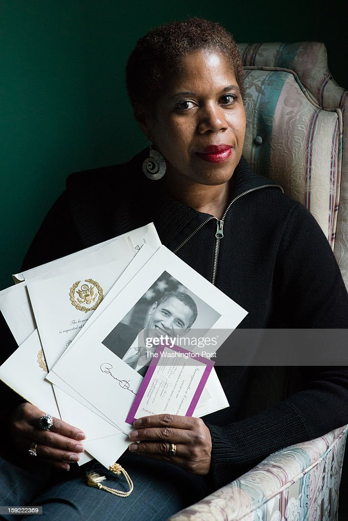 SPRING, MD - JANUARY 7 June Jeffries, 58, of Silver Spring, MD holds her packet from Obama's last inauguration. She had one of the purple tickets and was stuck in tunnel for the event. This time she missed getting tickets to the only official inaugural ball open to the general public.