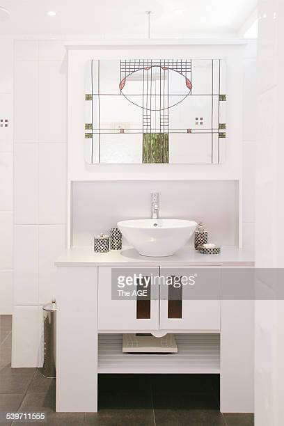 June Kane has a Charles Rennie MacKintosh inspired bedroom and ensuite in her 1930's home in Essendon Pictured is ensuite 25th Jan 2006 THE AGE...