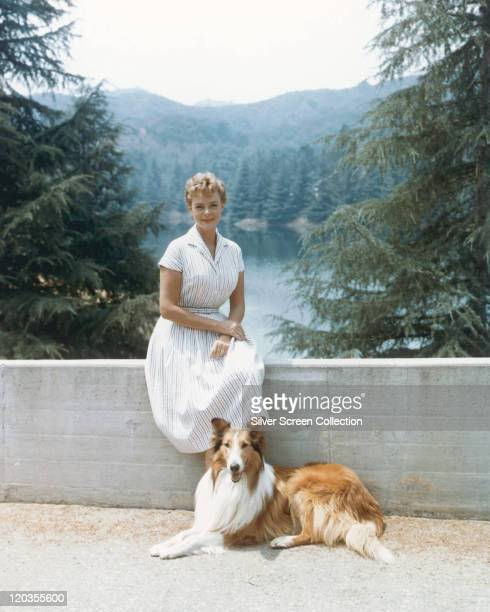 June Lockhart US actress sitting on a wall with a Rough Collie dog laying and her feet in a publicity portrait issued for the US television series...
