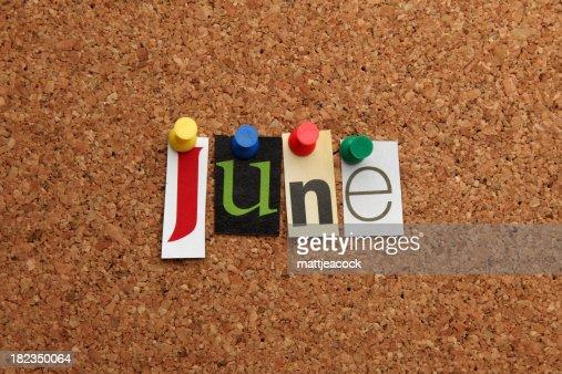 June pinned on noticeboard