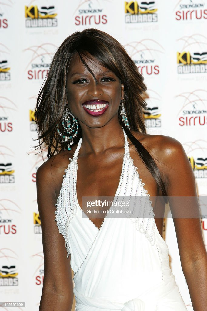 <a gi-track='captionPersonalityLinkClicked' href=/galleries/search?phrase=June+Sarpong&family=editorial&specificpeople=211482 ng-click='$event.stopPropagation()'>June Sarpong</a> during Kiss Awards 2005 - Press Room at Excel Docklands in London, Great Britain.