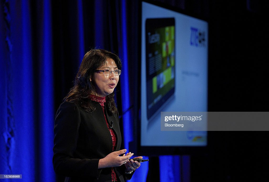 June Wang, vice president of ZTE Corp., speaks during an event in San Francisco, California, U.S., on Thursday, Sept. 27, 2012. Intel Corp.'s delayed delivery of software that conserves computer battery life is holding up the development of some tablets running the latest version of Microsoft Corp.'s flagship Windows operating system, a person with knowledge of the matter said. Photographer: David Paul Morris/Bloomberg via Getty Images