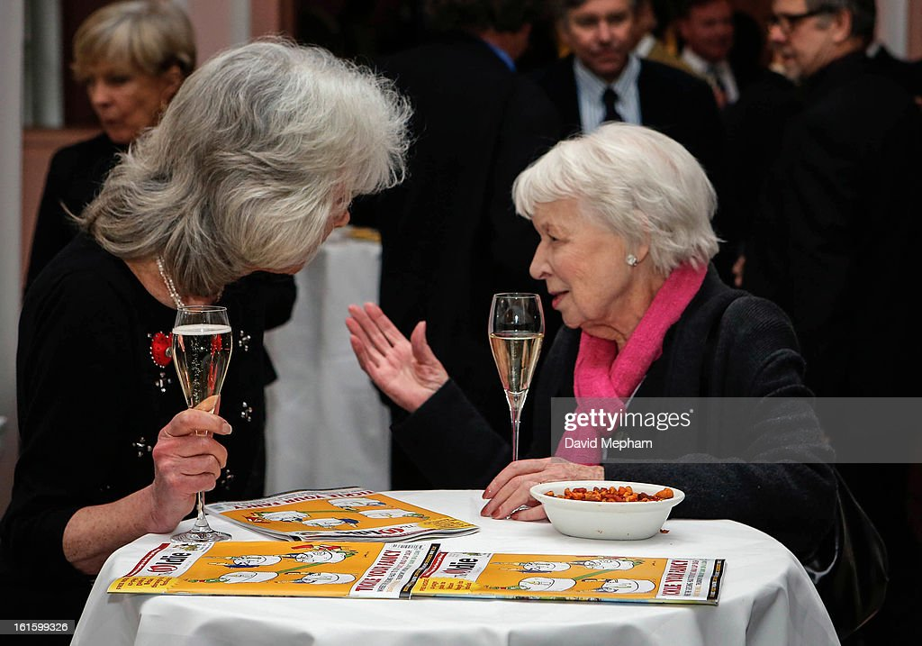 June Whitfield (R) and Jilly Cooper attend the Oldie of the Year Awards at Simpsons in the Strand on February 12, 2013 in London, England.
