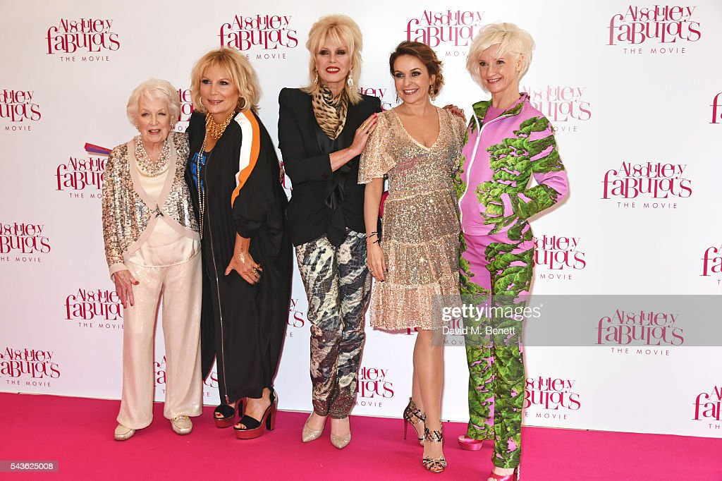 June Whitfield, Jennifer Saunders, Joanna Lumley, Julia Sawalha and Jane Horrocks attend the World Premiere of 'Absolutely Fabulous: The Movie' at Odeon Leicester Square on June 29, 2016 in London, England.