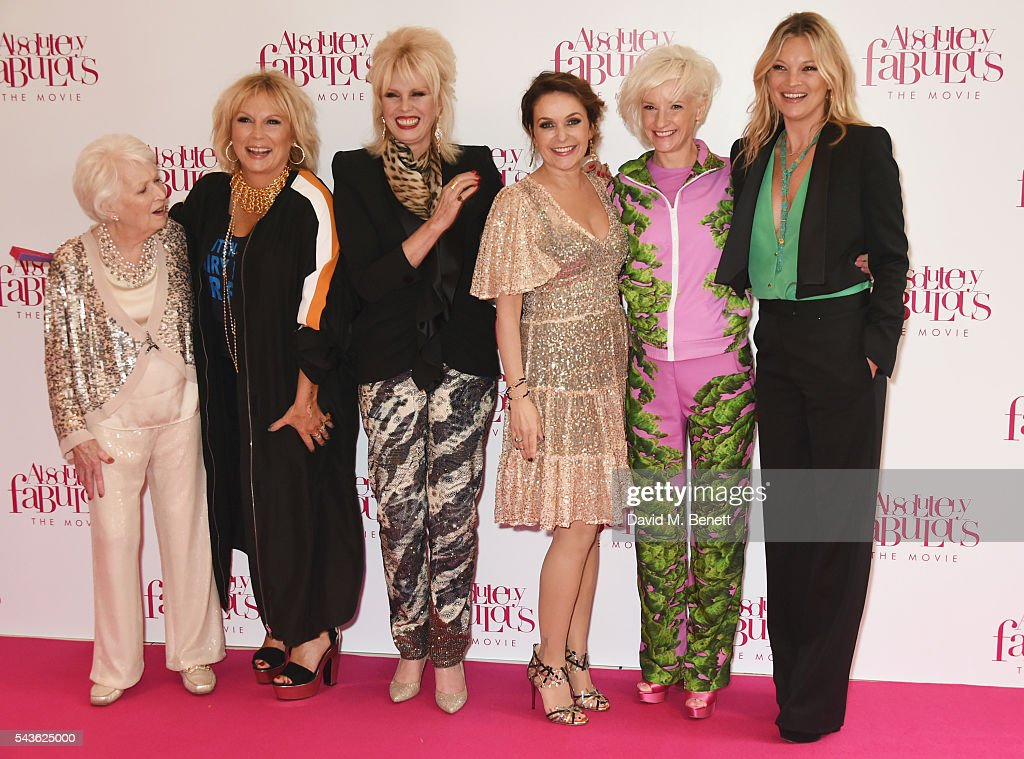 June Whitfield, Jennifer Saunders, Joanna Lumley, Julia Sawalha, Jane Horrocks and Kate Moss attend the World Premiere of 'Absolutely Fabulous: The Movie' at Odeon Leicester Square on June 29, 2016 in London, England.