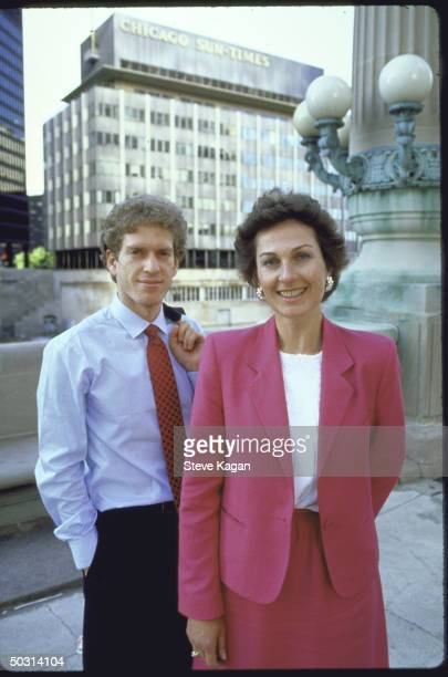 Advice columnists Jeffery Zaslow Diane Crowley in portrait together w SunTimes building in background hired as replacements for Ann Landers