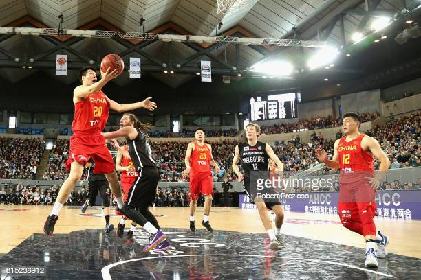 Junfei Ren of China drives to the basket during the match between Melbourne United and China at Melbourne Park on July 16 2017 in Melbourne Australia
