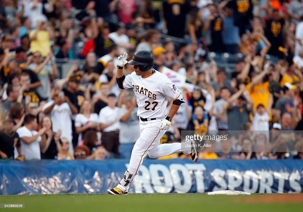 Jung Ho Kang #27 of the Pittsburgh Pirates rounds third after hitting a home run in the third inning during the game against the Los Angeles Dodgers at PNC Park on June 24, 2016 in Pittsburgh, Pennsylvania.