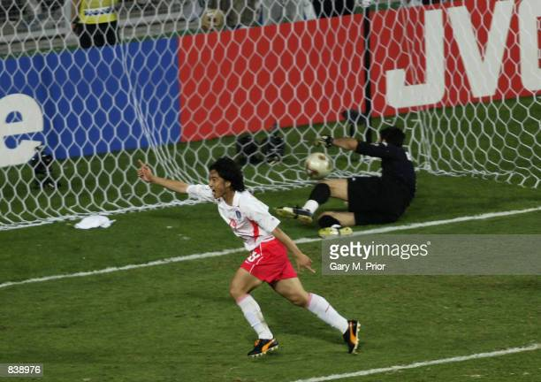 Jung Hwan Ahn of South Korea heads the winning goal past goalkeeper Gianluigi Buffon of Italy during the FIFA World Cup Finals 2002 Second Round...