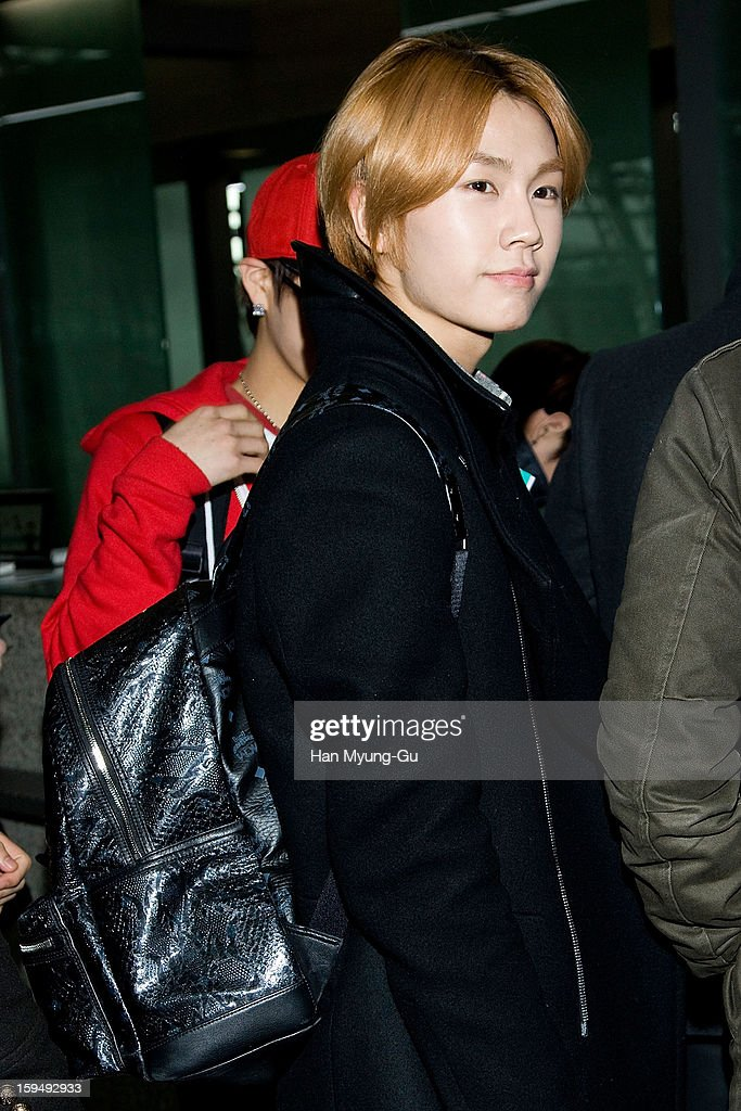 Jung Il-Hoon of South Korean boy band BtoB is seen at Incheon International Airport on January 13, 2013 in Incheon, South Korea.