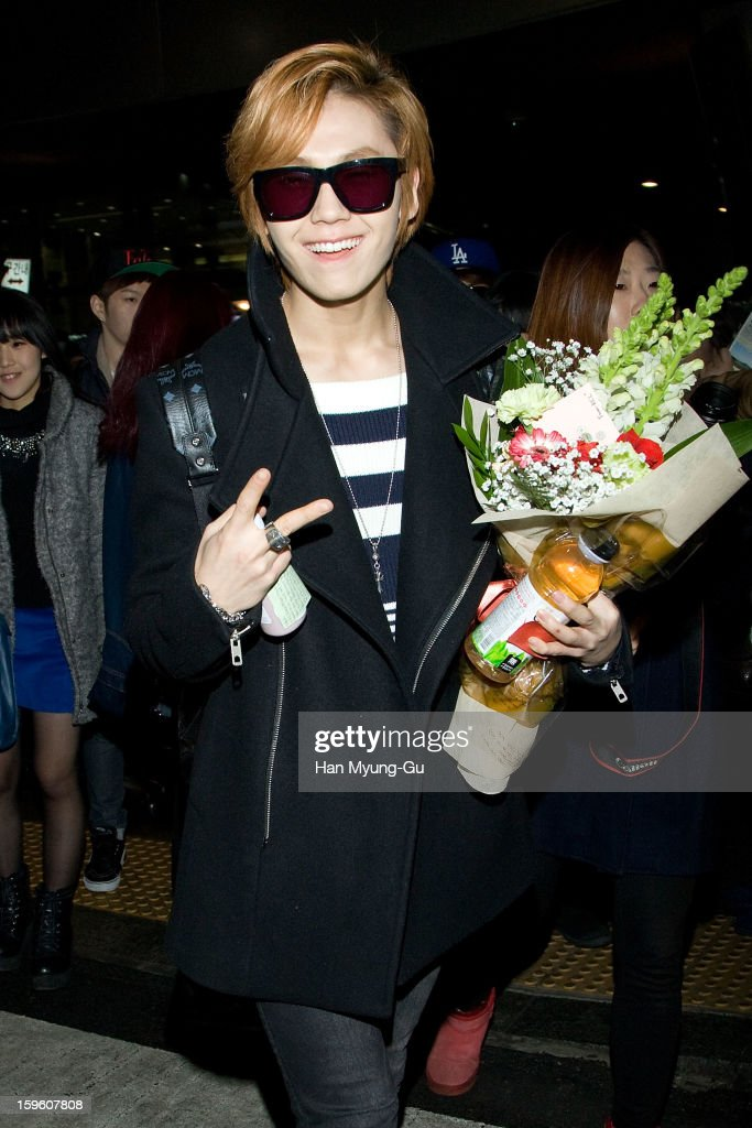 Jung Il-Hoon of South Korean boy band BtoB is seen at Incheon Inaternational Airport on January 16, 2013 in Incheon, South Korea.