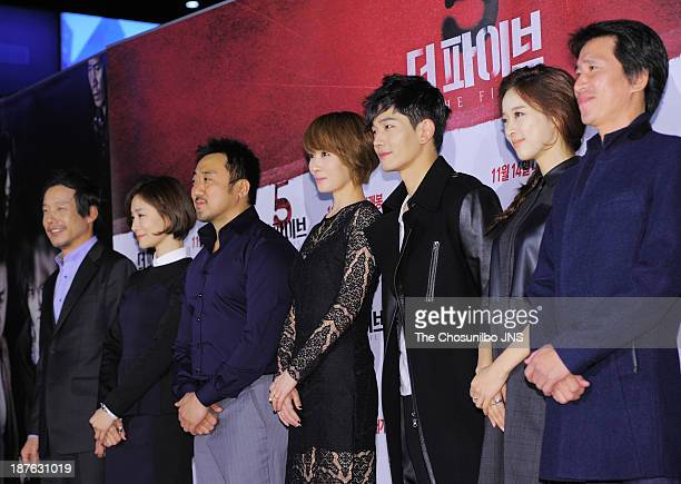 Jung InKi Park HyoJoo Ma DongSeok Kim SunA On JooWan Lee ChungAh and Shin JungKeun attend the 'The Five' VIP press screening at Wangsimni CGV on...