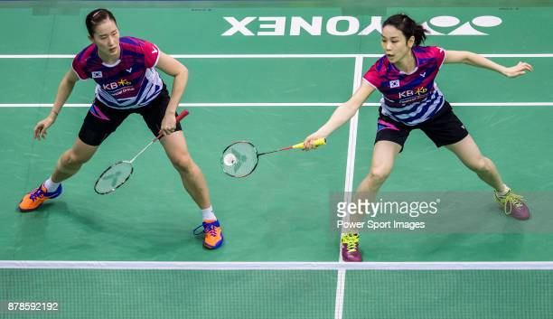 Jung Kyung Eun and Chang Ye Na of South Korea compete against Misaki Matsutomo and Ayaka Takahashi of Japan during their women doubles round 32 match...