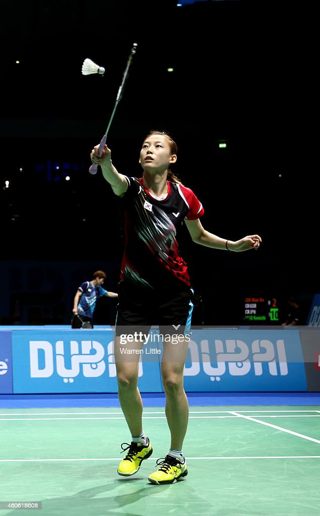 Jung Kyung Eun and Kim Ha Na of Korea in action against Misaki Matsutomo and Ayaka Takahashi of Japan during the Women's Doubles match on day two of the BWF Destination Dubai World Superseries Finals at the Hamdan Sports Complex on December 18, 2014 in Dubai, United Arab Emirates.