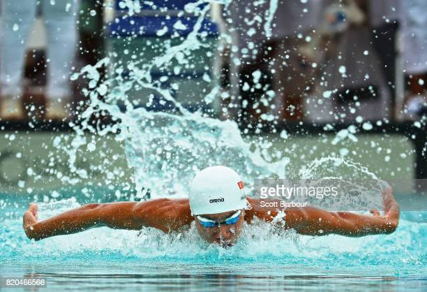 Jung Ong of Singapore competes in the Boy's 100m Butterfly Final at the Swimming on day 4 of the 2017 Youth Commonwealth Games at Betty Kelly Kenning...
