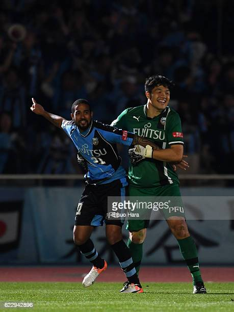 Jung Sung Ryong and Eduardo Neto#21 of Kawasaki Frontale celebrate their victory after penalty shoot out during the 96th Emperor's Cup fourth round...