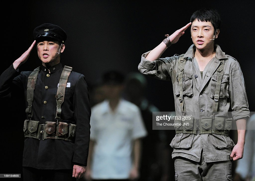 Jung Tae-Woo and Yoon-Hak of Supernova perform during the musical 'The Promise' press call at the National Theater of Korea Main Hall 'Hae' on January 8, 2013 in Seoul, South Korea.