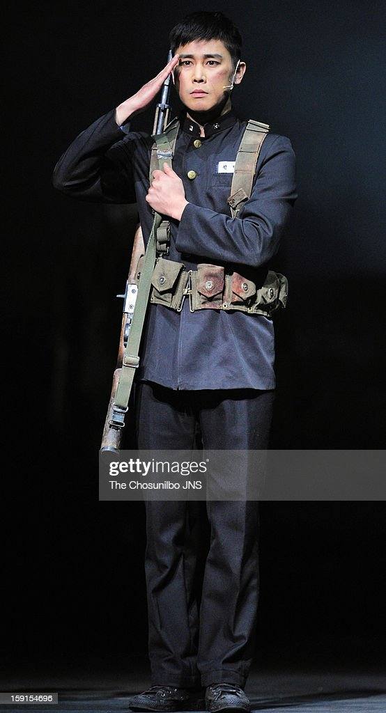Jung Tae-Woo performs during the musical 'The Promise' press call at the National Theater of Korea Main Hall 'Hae' on January 8, 2013 in Seoul, South Korea.